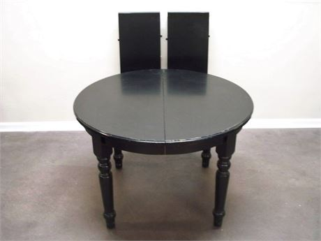 POTTERY BARN BLACK DINING TABLE WITH 2 LEAVES