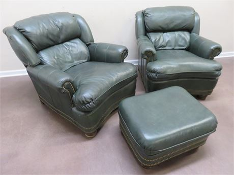 HANCOCK & MOORE Leather Arm Chairs & Ottoman