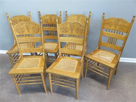 Oak Pressed Back Dining Chair Set