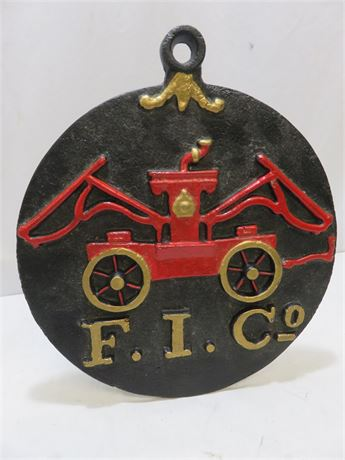 Vintage Fireman's Insurance Cast Iron Wall Plaque