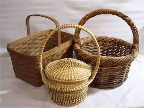 3 WICKER BASKETS - INCLUDES LONGABERGER AND SWEET GRASS