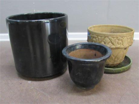 4 Piece Ceramic/Pottery Planter Lot