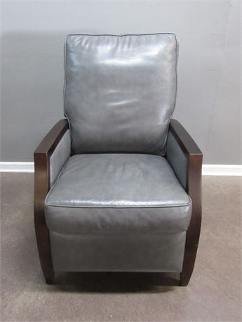 Nice Gray Leather Recliner with Wood Trimmed Arms