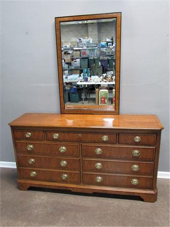 Drexel  Heritage 7 Drawer Dresser with Beveled Glass Mirror