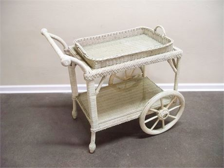WICKER SERVING CART WITH REMOVABLE WICKER TRAY TOP
