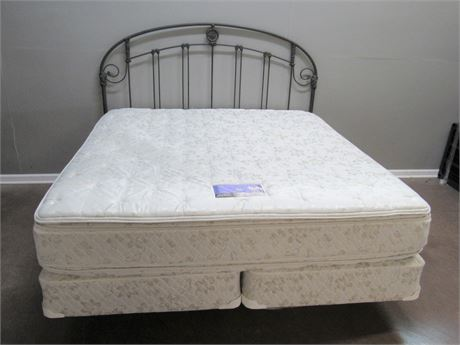 Wrought Iron/Metal King Headboard w/ Serta Perfect Sleeper Mattress & Box Spring