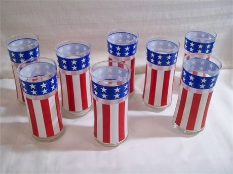 8 VINTAGE PATRIOTIC RED WHITE AND BLUE STARS AND STRIPES DRINKING GLASSES