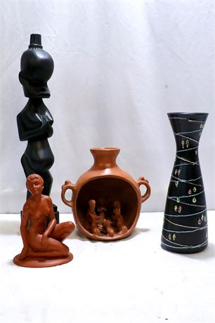 Figurines and Vase resembling Guatemalan and African designs plus more