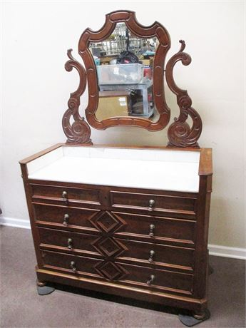 VINTAGE WASH STAND WITH MARBLE TOP AND ATTACHED MIRROR