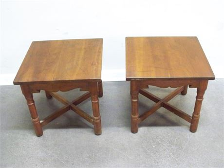 2 SMALL LEOPOLD STICKLEY SIDE TABLES