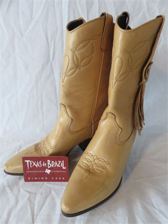 TEXAS DE BRAZIL $50 Gift Card + Laredo Women's Leather Cowboy Boots 6.5