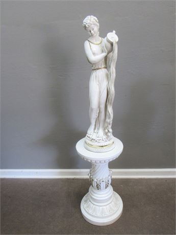 Vintage 1959 Universal Statuary Corp. Roman Female Statue with Pedestal