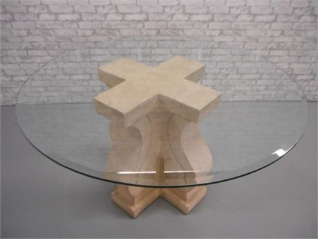 LARGE RESIN CONCRETE LOOK PEDESTAL BASE BEVELED GLASS TOP DINING TABLE