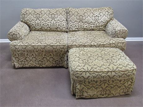 Bernhardt Tan & Brown Chenille/Damask Sleeper Sofa with Ottoman