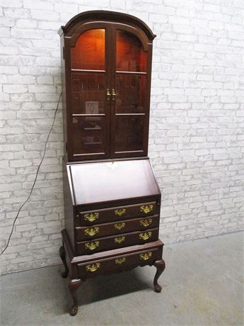QUEEN ANNE SECRETARY WITH LIGHTED HUTCH