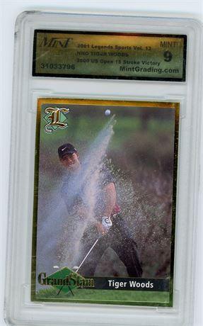 2001 Legends Sports Vol 13 NNO Tiger Woods Mint Grading Services 9