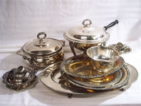 MISC. SERVING WARE LOT - MOSTLY SILVER-PLATE - 20+ PIECES