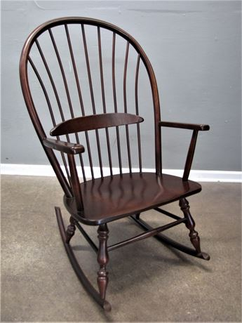 Extra Wide Wood Rocking Chair in a Mahogany finish