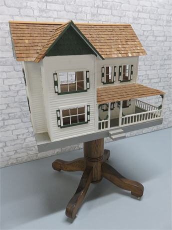 Large Hand-Made Wooden Doll House & Stand