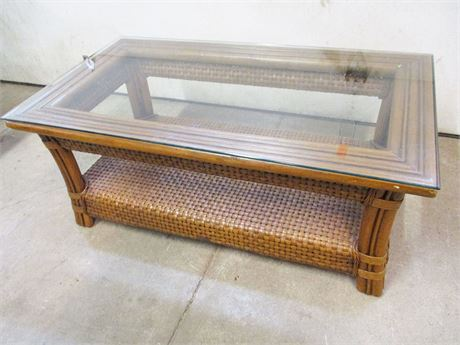 RATTAN COFFEE TABLE WITH GLASS TOP BY BOCA RATTAN
