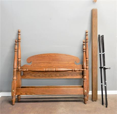 Queen Wood Headboard Footboard and Side Rails