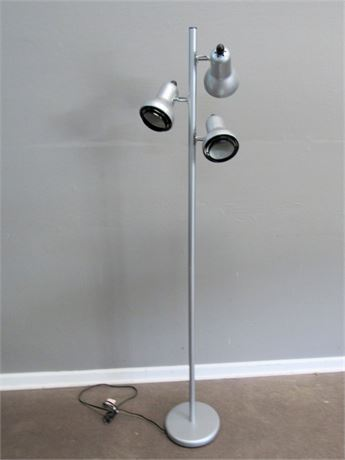 3-Light Silver Metal Floor Lamp
