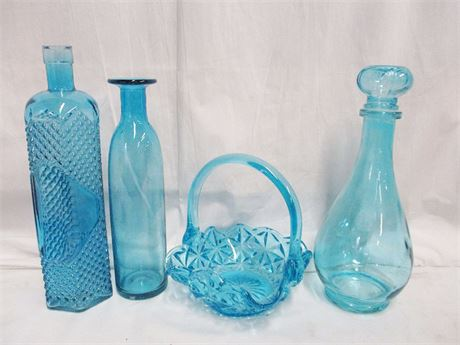 LOT OF BLUE GLASS