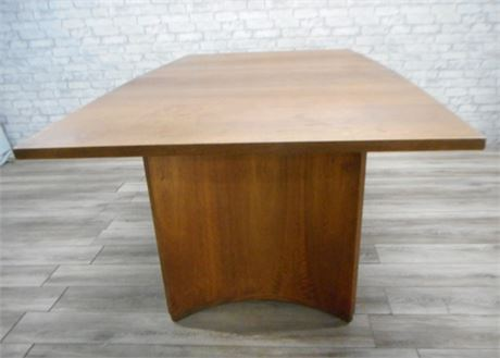 CURVED/HALF-MOON BASE MID CENTURY DINING TABLE WITH 2 LEAVES