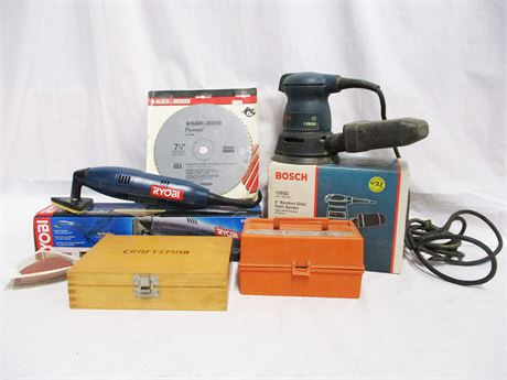 LOT OF WOODWORKING TOOLS FEATURING BOSCH AND RYOBI
