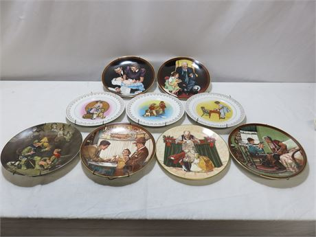 9-Piece NORMAN ROCKWELL Limited Edition Collector Plate Lot