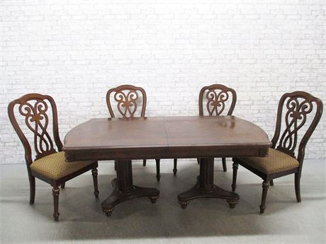 DOUBLE PEDESTAL DINING TABLE AND 4 CHAIRS