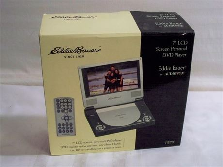 "EDDIE BAUER AUDIOVOX 7"" LCD SCREEN PERSONAL DVD PLAYER WITH REMOTE - NIB"