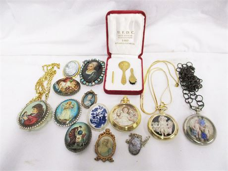 LOT OF UNIQUE JEWELRY FROM UFDC INCLUDING PORTRAIT PINS
