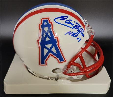 Elvin Bethea Houston Oilers Hand Signed Replica Mini Helmet HOF