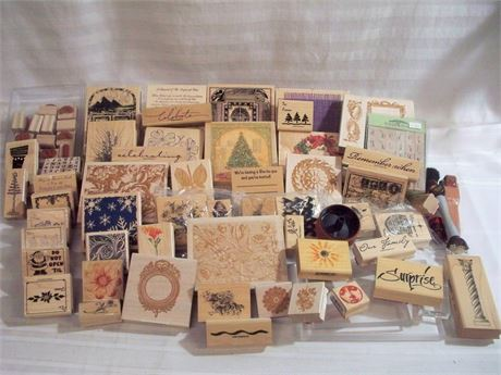 LARGE RUBBER STAMP LOT - 60+ PIECES