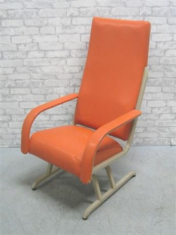 VINTAGE MID CENTURY LUMEX STEEL FRAMED ORANGE UPHOLSTERED CHAIR