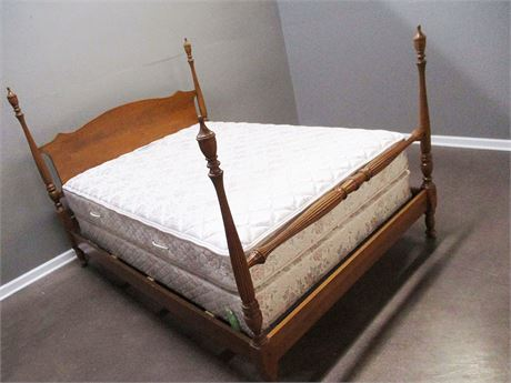 FULL FOUR POSTER BED WITH SEALY MATTRESS AND BOX SPRING