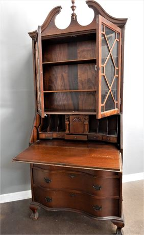 Vintage Antique Walnut Finish Secretary From Skandia Furniture Company