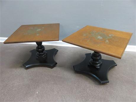 L. HITCHCOCK Pedestal End Tables