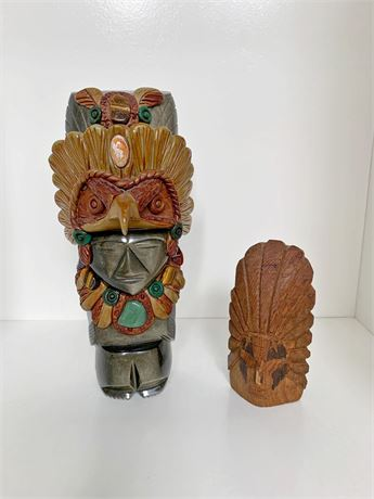 Mexican and Indian Carved Figurines