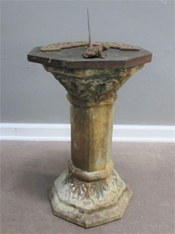 Cement Pedestal with Sundial