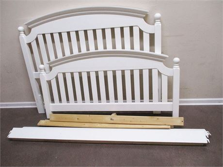 QUEEN BED FRAME (HEADBOARD, FOOTBOARD, RAILS, SLATS)