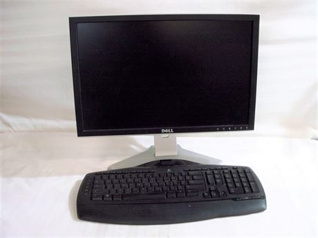 "DELL 20"" FLAT PANEL MONITOR AND LOGITECH WIRELESS KEYBOARD"