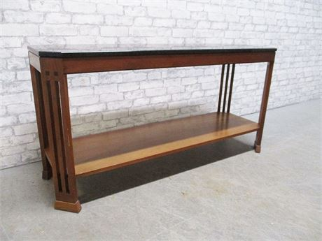 MISSION-STYLE CONSOLE TABLE WITH GRANITE TOP