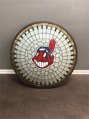One of Kind Large Leaded Slag Glass Shade with the Indians Logo