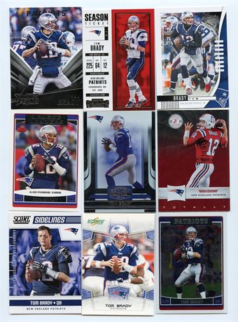 TOM BRADY LOT #1 WITH CHROME AND INSERT 9 CARDS