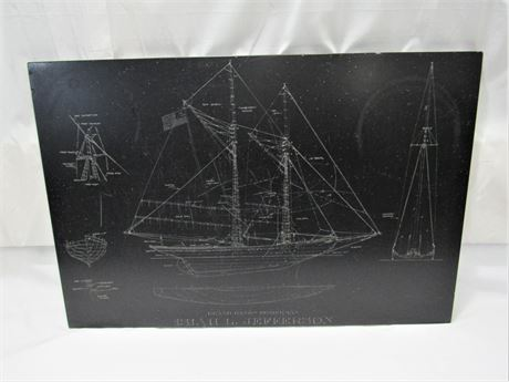 Etched Faux Slate -  Grand Banks Fisherman - Isiah L. Jefferson Blue Print