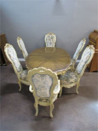 Custom-Crafted Ecker-Shane Furniture Dining Room Table with 6 Chairs & 2 Leaves