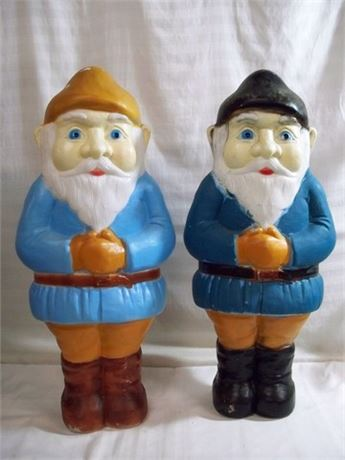 2 DON FEATHERSTONE BLOW MOLD CHRISTMAS ELVES/GNOMES