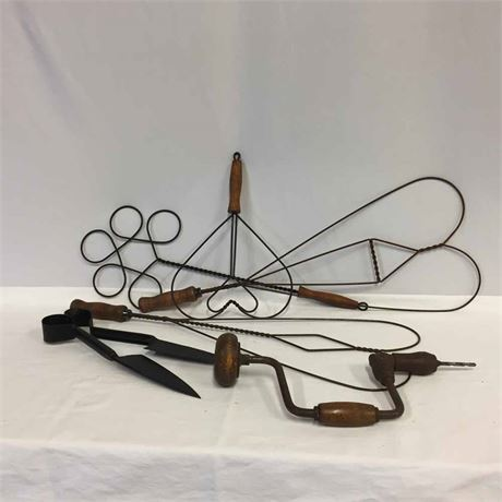 ANTIQUE RUG BEATERS AND TOOLS